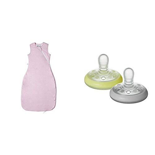 Tommee Tippee The Original Grobag, Baby Sleep Bag, 6-18m, 1 Tog, Pink Marl with Breast-like Soother Night Time
