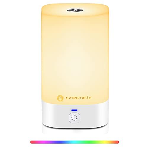 Extremella Nachttischlampe, Tischlampe Touch-Kontrolle, dimmbare LEDs Nachtlampe mit 256-farbigem RGB, stufenlos dimmbar, 4 Licht-Modi, USB-Typ C, Kabelloses, Stimmungsvolles Licht LQ-01