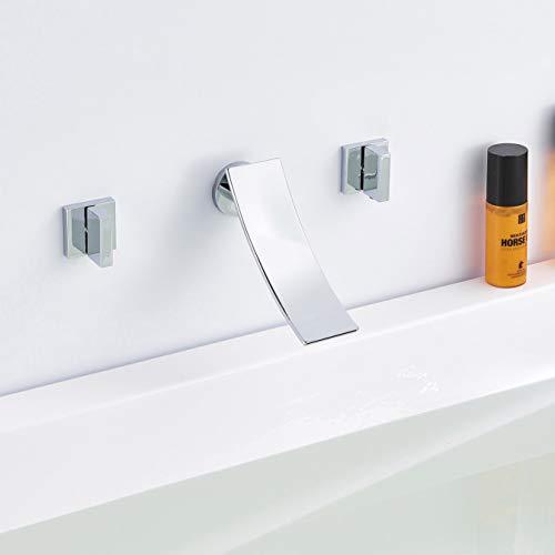 FUZ Wall Mounted Waterfall Spout Bathtub Faucet 2 Knobs Cascade Faucet Contemporary Elegant Bathroom Tap Tub Filler Brass,Chrome