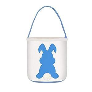 Kids Easter Bunny Basket Bags Girl Boy Easter Egg Hunt Basket for Party Celebration Decoration Eggs Candy Bag and Gifts Carry Bucket