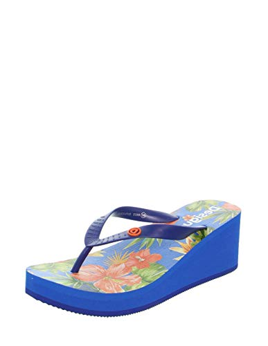 Desigual Shoes Lola Tropical, Chanclas Mujer, Azul Lovely 5099, 40 EU