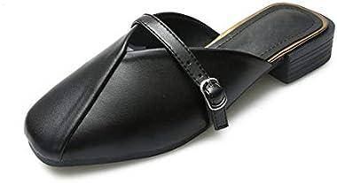 Women's Girl's Classic Mary Jane Mule Flat Dress Shoes Slip-on Slides Square Toe