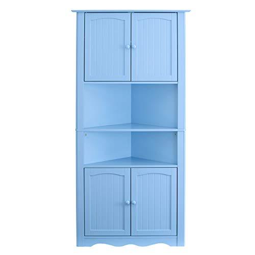 BrylaneHome Cottage Kitchen Corner Cabinet, Light Blue