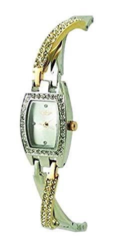 Softech Damen-Armbanduhr, Armreif-Design, Zweifarbig: Roségold & Silbern, Analog-Quarzuhr - NEU