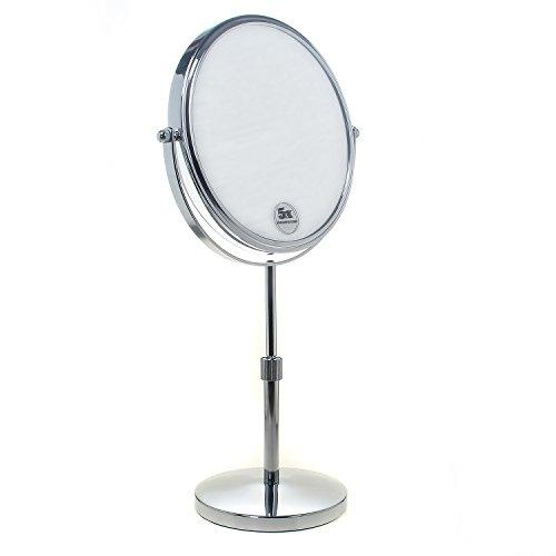 TUKA Standspiegel Höhenverstellbar 5 Fach Vergrößerung, 8 inch Schminkspiegel Kosmetikspiegel, Verchromten Rasierspiegel Tischspiegel Badzimmerspiegel, Doppelseitig: Normal+ 5X Zoom, TKD3114-5x