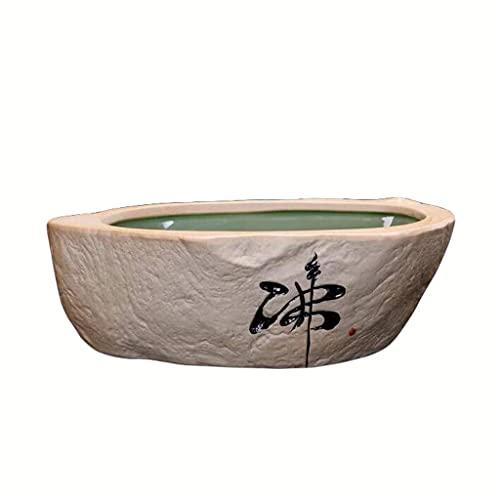 DIWA Pequeño Acuario de cerámica, Mini Tanque de Escritorio Abierto, Estilo Retro, para Sala de Estar/Estudio/Oficina/terraza (Color : E)