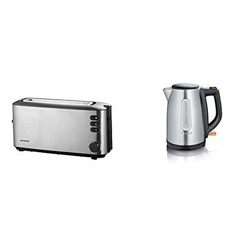 SEVERIN AT 2515 Automatik-Toaster (1.000 W, 1 Langschlitzkammer, Für bis zu 2 Brotscheiben) edelstahl/schwarz & WK 3469 Wasserkocher (ca. 2.200 W, 1 L) edelstahl/schwarz