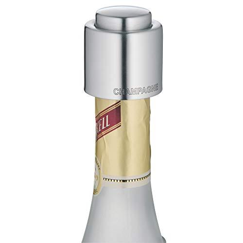 WMF Clever&More Sektverschluss mit Aufschrift 3,5 cm, Champagner Verschluss, Sektflaschenverschluss, Cromargan Edelstahl mattiert, Flaschenverschluss