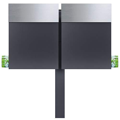 MOCAVI SBox 510 Doppel-Briefkasten freistehend mit Zeitungsfach edelstahl anthrazit 2er-Standbriefkasten mit Pfosten