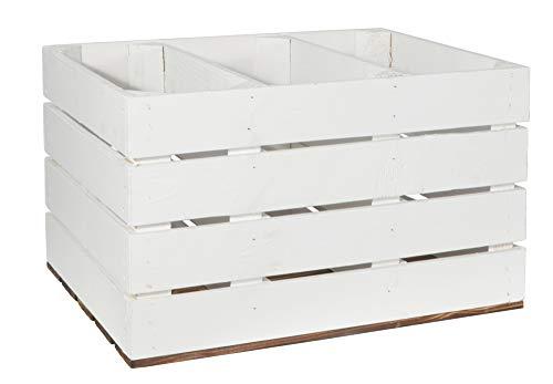 CHICCIE 3 Set Holzkiste Grete Weiß Geflammt - 2X Kurzes Regal Obstkiste Dekokiste Weinkiste Ablage 50x40x30cm Gehobelt - 7