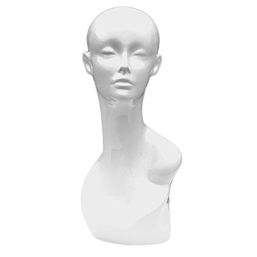 Only Garment Racks Female Gloss White Fiberglass Mannequin Head Glossy Elegant Edition