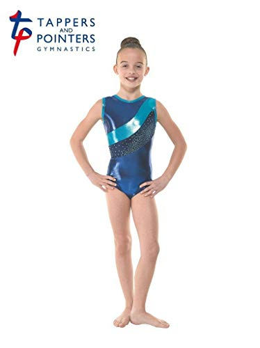 Tappers and Pointers GYM33 - Maillot de Gimnasia sin Mangas, Color Amazon Shine/Navy Suave Terciopelo/Astro Aqua Foil, tamaño 3A (11-12 Years)
