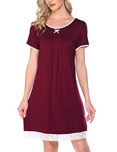 Hotouch Nachthemd Damen Sommer Nachtwäsche Negligee Nachtkleid mit Spitze Schleife Schlafanzug Kurz Nightdress Sleepwear Weinrot L
