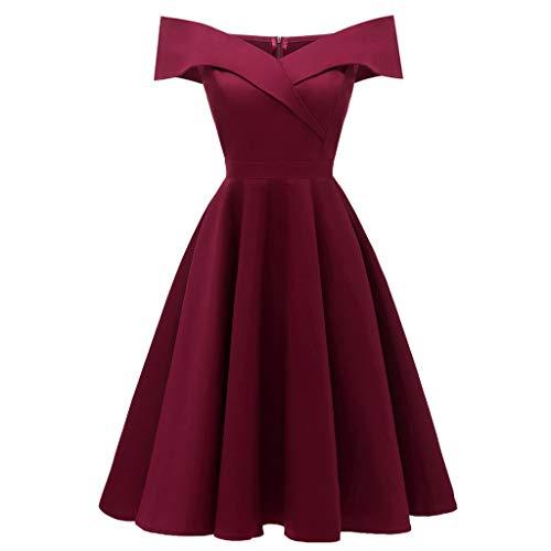 Sommerkleider Damen Kurzarm V-Ausschnitt Strand Kleider Elegant Vintage Abendkleid Knielang