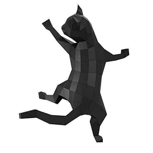 MagiDeal DIY pre-Cut Papercraft Kit de Montaje 3D geométrico Gato Pared Trofeo Montaje Material de decoración Papel de Montaje para decoración de Pared - Negro