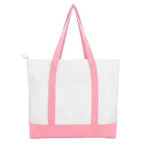 Wubxbvvx Bolsa de lona elegante de 16 onzas con bolsillos externos e internos, bolsa de lona abierta de la parte superior diaria Essentials