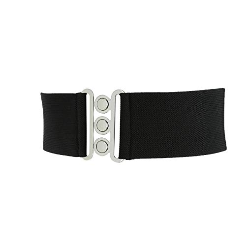 FASHIONGEN - Ceinture femme élastique, ceinture large à boucle 3 boutons, style vintage, GLORIA Fabriqué en France - Noir (Boucle argenté), XL / 44 à 46