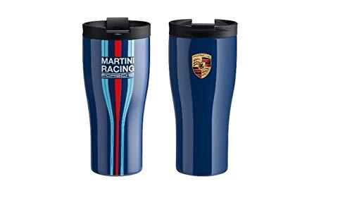 Unbekannt Porsche Driver's Selection Thermobecher Martini Racing Edelstahl 450ml | NUR Hier + Extra Schlüsselring Mit Schraubverschlusss | Set