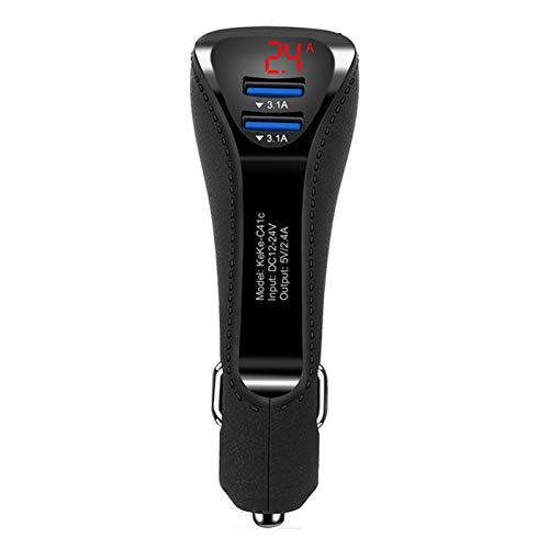 Lsmaa Car Charger, 12v-24v Digital Led Display Voltage and Current with Indicator Built-in Fuse Support Simultaneous Output, Suitable for Mobile Phones and Tablets