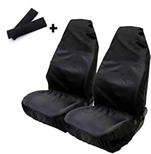 Anderlay 2pcs Cubierta para Asiento de Coche Funda de Asiento Impermeable y Resistente Y 2pcs Almohadillas de Hombro para Cinturón de Seguridad Gratis