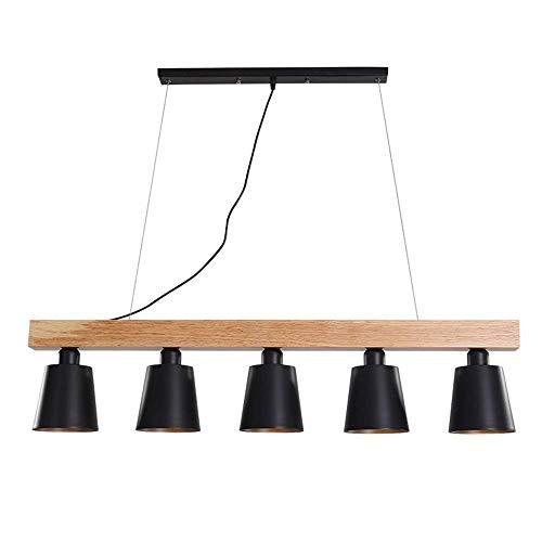 Hai Ying hanglamp van hout en metaal keuken met 5 lampen hanglamp E27 stopcontact (zwart)