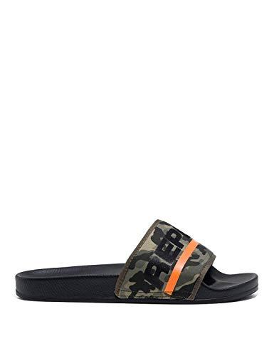 Replay Men's Concrete Slides with Camo Design Black in Size 44