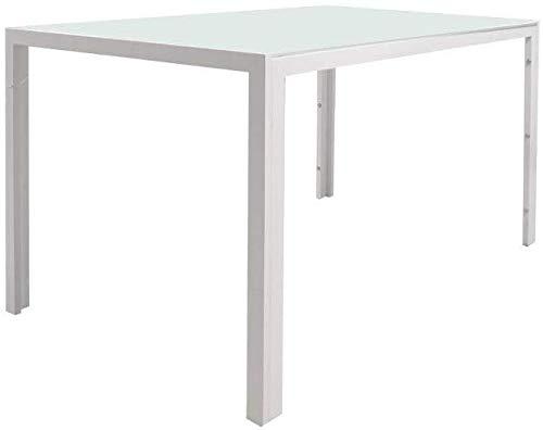 EBS My Furniture - Tavolo rettangolare in vetro, 130 x 70 x 75 cm, colore: Bianco