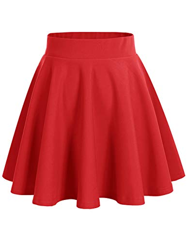 bridesmay Damenrock Basic Solid Vielseitige Dehnbaren Informell Minikleid Retro Mini Rock Faltenrock Red L