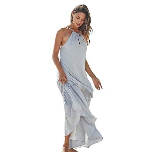 URIBAKY Trägerlos Strandkleid Tunika T-Shirtkleider Lang-Damen Sling Kleid Ärmellos Elegant Sommerkleider Party Kleid Casual Longshirt