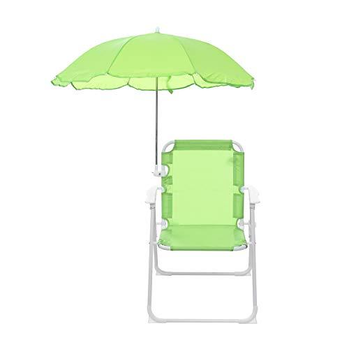 Sedia pieghevole bimbo con ombrello, in metallo e textilene Verde