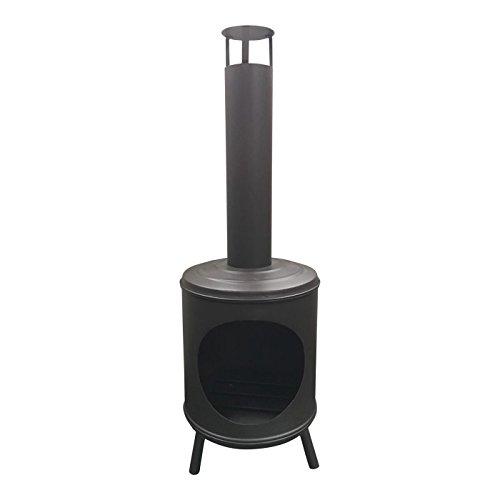 Mullrose Terrassenofen Gartenkamin XXL rund, aus Stahl, schwarz, L38 x B38 x H125 cm