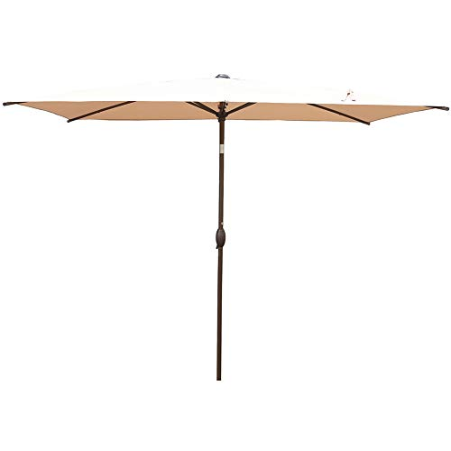 Abba Patio Rectangular Patio Outdoor Market Table Umbrella with Push Button Tilt and Crank, 6.5 by 10 Ft, Beige 10' High Square Table