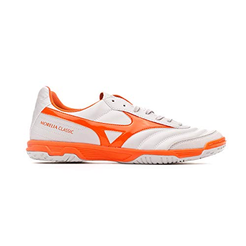 Mizuno Morelia Sala Classic IN, Zapatilla de fútbol Sala, Glacier Gray-Red Orange, Talla 11.5 US (45 EU)