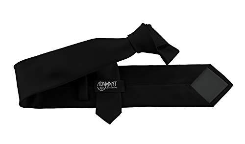 ADAMANT Herren Krawatte Klassische Form Schwarz 7cm Breit