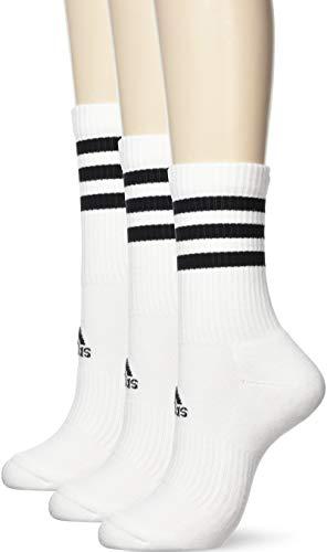 adidas 3 Paar 3-Streifen Cushion Crew Socken, White/White/White, S