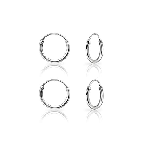 DTPSilver - Set of 2 Pairs of Tiny Hoops Earrings in 925 Sterling Silver - Cartilage - Thickness 1.2 mm - Diameter 10 mm