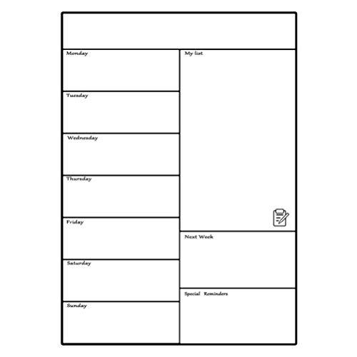 Siamrose Hoja de calendario A3 extraíble magnético semanal planificador agenda agenda agenda agenda agenda agenda etiqueta memo nevera (negro) LTLNB (color: blanco)