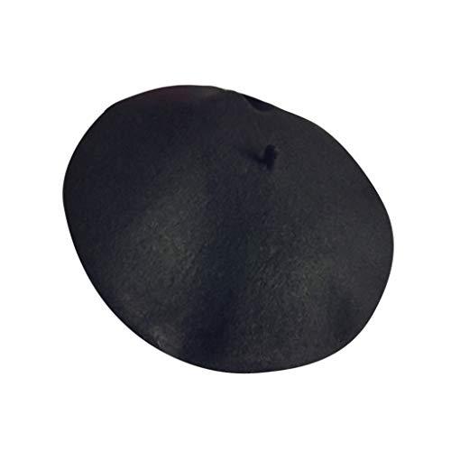 Baohooya Invierno Bebe Gorros 2-7 Años - Boina de Lana Caliente Color SóLido Estilo Británico Sombrero de Pintor para Niña Niño(Negro)
