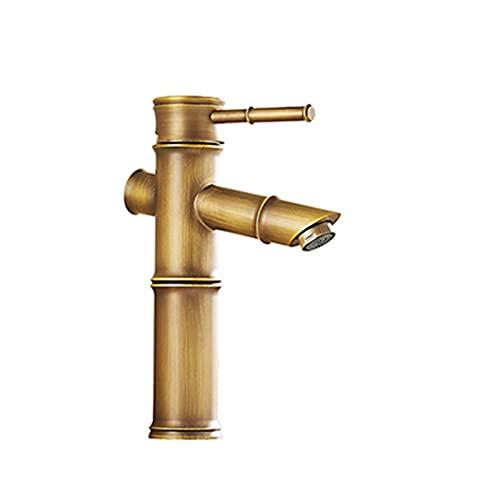 Bambú alto de agua fría caliente con dos tubos de cocina jardín al aire libre wc taps taps de baño grifo de latón lavabo grifo de lujo grifo (Color : ZJC02, Surface Finishing : Brass)