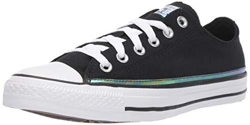 Converse Women's Chuck Taylor All Star Sparkle Trim Low Top Sneaker, Black/White/Black, 10 M US