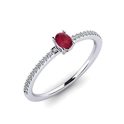 Weißgold Ring Helmi mit Rubin 0,30 ct AAA Qualität & 24 VS Diamanten 0,12 ct - 9K 375 Weißgold Verlobungsring - Wertvolles Geschenk als Antragsring oder Vorsteckring für Damen