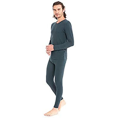 Men's Cotton Thermal Underwear Set Ultra Soft Midweight Long Johns Top & Bottoms Grey
