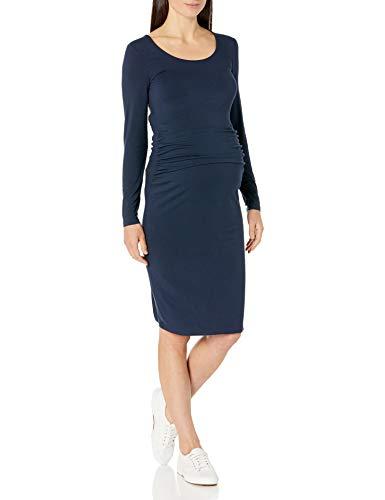 Amazon Essentials Maternity Long-Sleeve Dress Dresses, Blu Marino, Motivo Scozzese, S