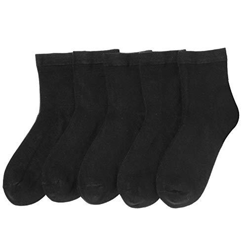 Bambus-Socken für Herren, atmungsaktiv, niedrig, Quarter, dünn, bequem, kühl, weich, 5 Paar - Schwarz - Large