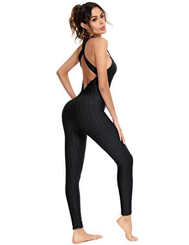 Sykooria Leggings Jumpsuit Damen Slim Fit Yoga Rückenfrei Honeycomb Gym mit Bauchkontrolle und Hintern Heben