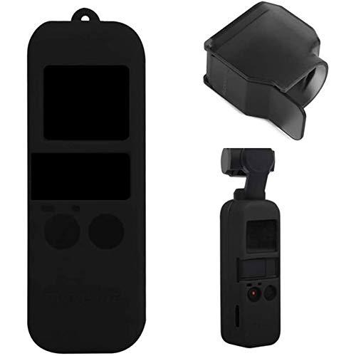 Huachaoxiang Schutzhülle Aus Silikon Mit Lanyard Neck Strap + Lock Gegenlichtblende Gimbal Protector Für Pocket Camera,Schwarz