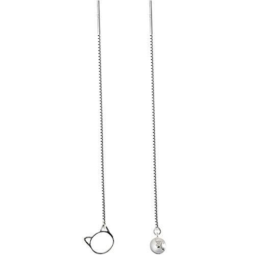 Damen-Ohrringe, 925 Silber Nadel, Katzenglocke, asymmetrisch? Creative Fashion Hypoallergen