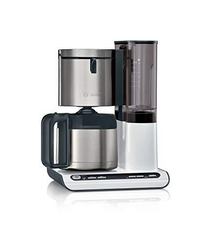 Bosch TKA8A681 Styline Filterkaffeemaschine, Thermokanne, autom. Anpassung Brühzeit, abnehmbarer Wassertank (1 L), 1100 W, weiß