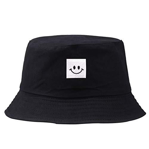 Patrón del Sombrero Bordado Cubo Cuadrado Cap Smiley Unisex Algodón Pescador Sombrero De Sol Al Aire Libre Plegable Gorra Plana para Las Mujeres De Los Hombres