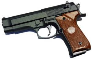 Nerd Clear Softair-Pistole G-22 Metall schwarz braun inkl. Magazin und Munition Einzelschuss 6 mm Federdruck 300 g Hop Up ABS unter 0,5 Joule ab 14 Jahre